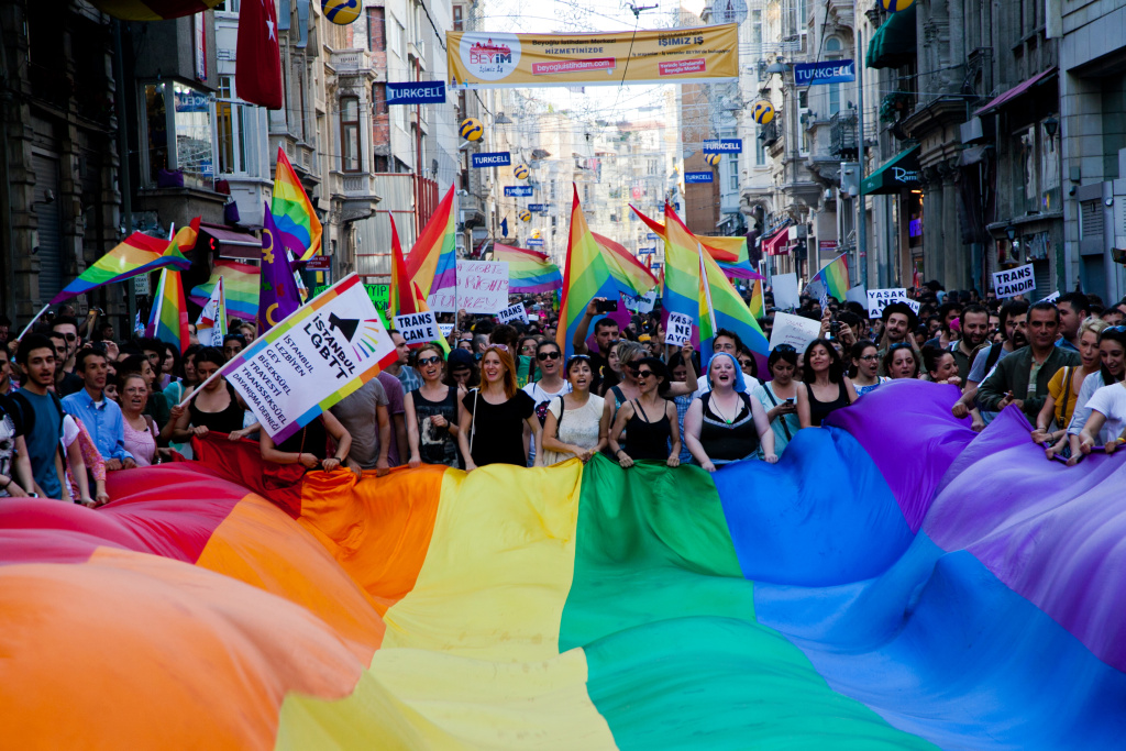 Gay and human rights activists march during anti-government protests on Istiklal Street, the main shopping corridor on June 23, 2013 in Istanbul.