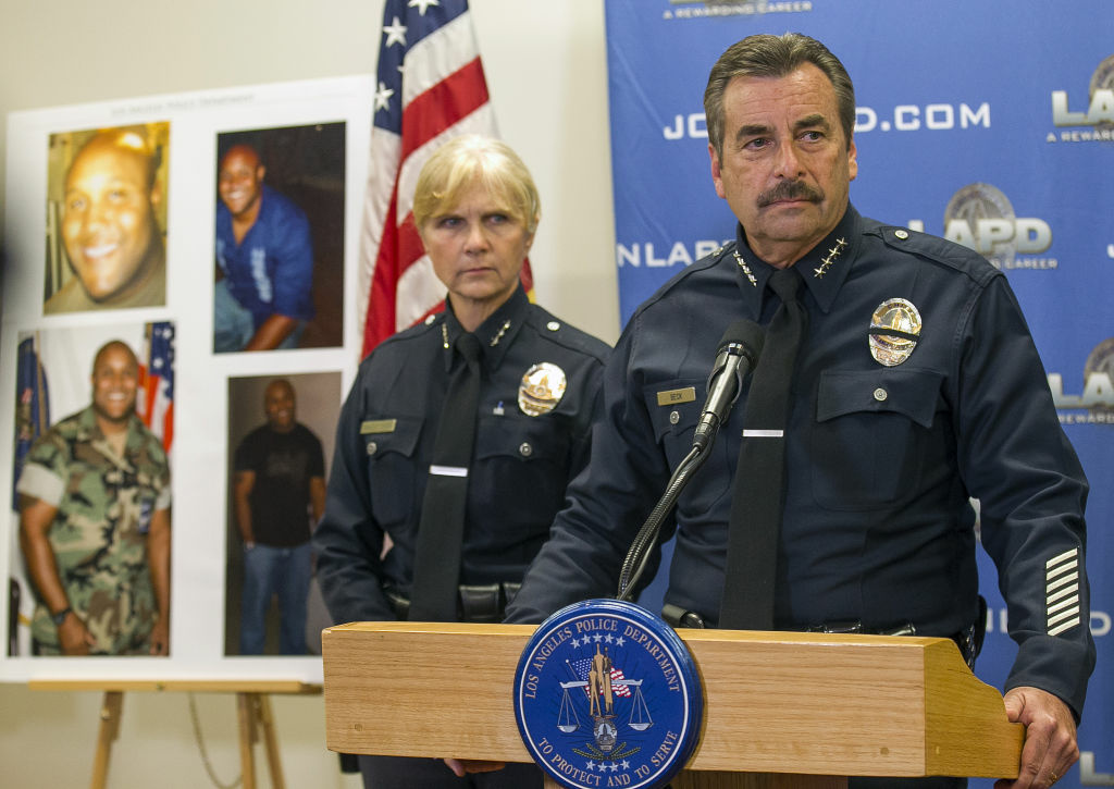 Los Angeles Police Chief Charlie Beck has dispatched 41 teams to protect officers, former officers and their families.