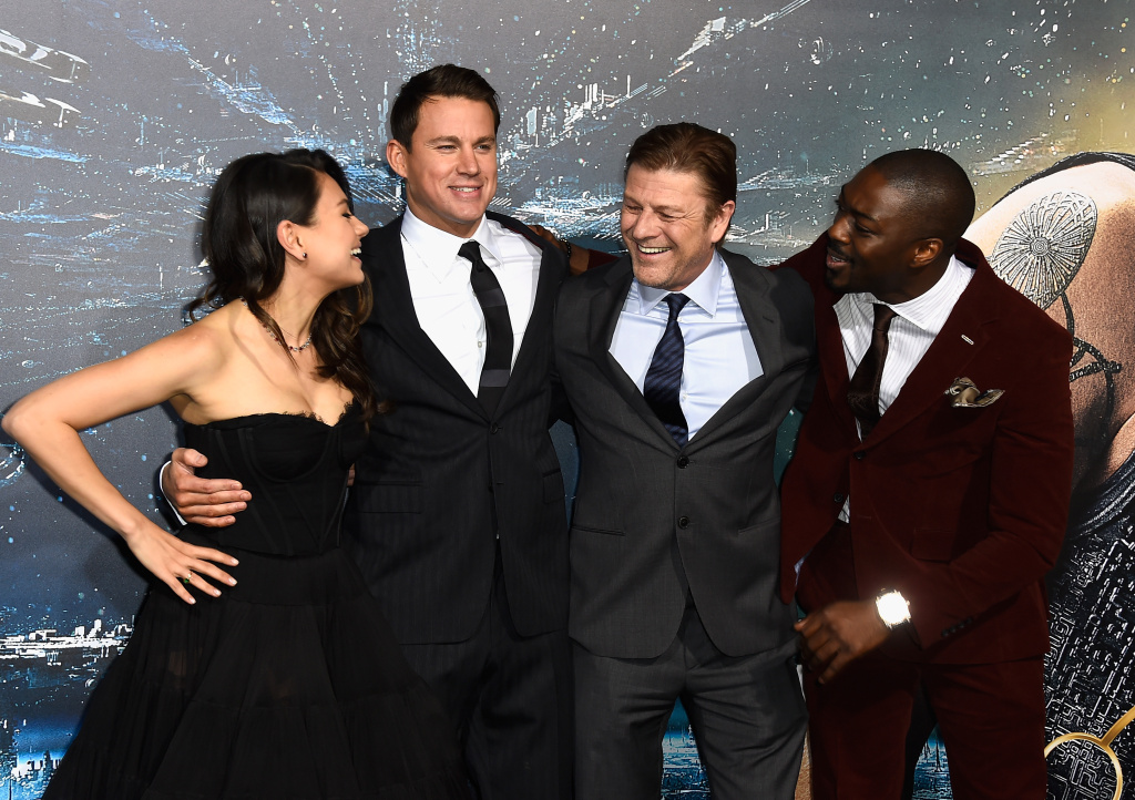 (L-R) Actors Mila Kunis, Channing Tatum, Sean Bean and David Ajala at the premiere of Warner Bros. Pictures'