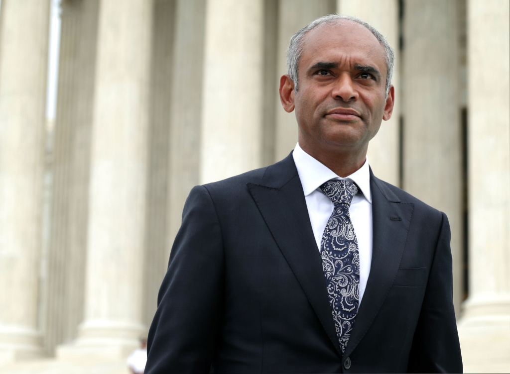 Aereo CEO Chet Kanojia leaves the U.S. Supreme Court after oral arguments April 22, 2014 in Washington, DC.  The court ruled that the streaming service was in violation of existing copyright law by retransmitting broadcast televisions programs via miniature antennas for a fee from the company's subscribers.