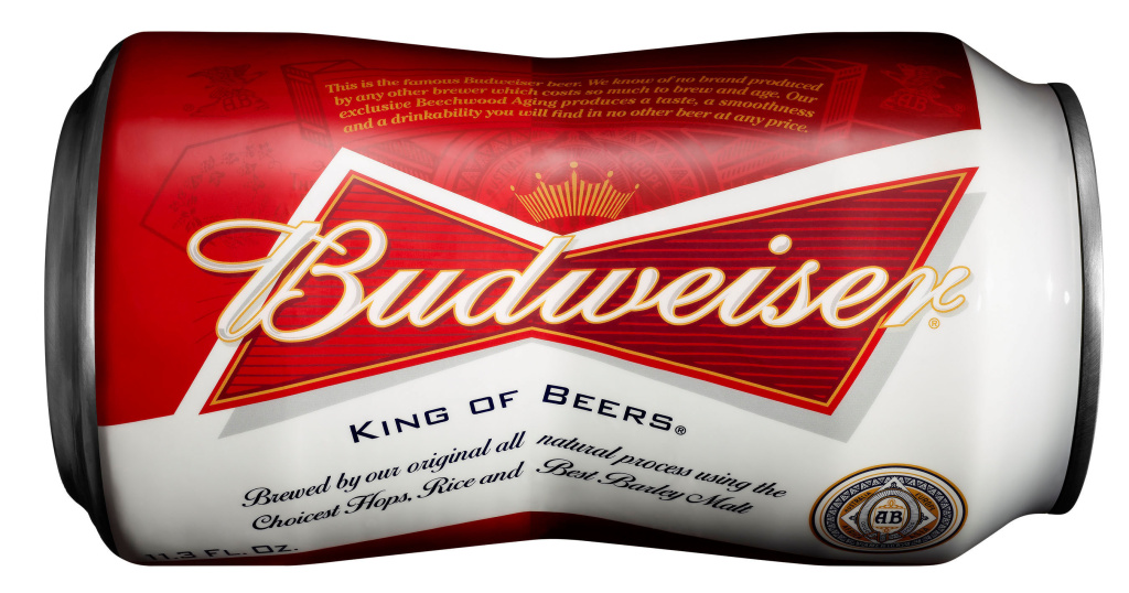 Budweiser Bowtie Can: Beginning May 6, Budweiser will be available in a new bowtie-shaped aluminum cans that mirror the brand's iconic bowtie logo.