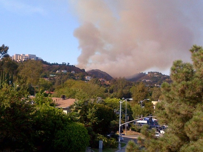 A view of the fire near the Getty Museum.