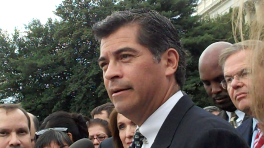 Congressman Xavier Becerra in front of Capitol