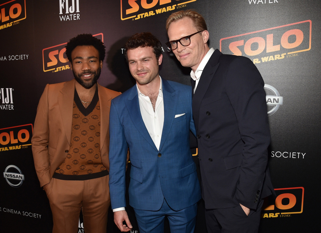 Actors Donald Glover, Alden Ehrenreich and Paul Bettany attends FIJI Water with the Cinema Society host a screening of