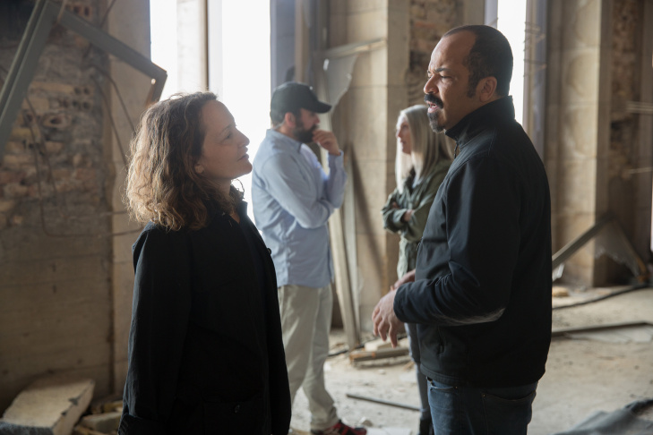 Producer Nina Jacobson with director Francis Lawrence on the set of