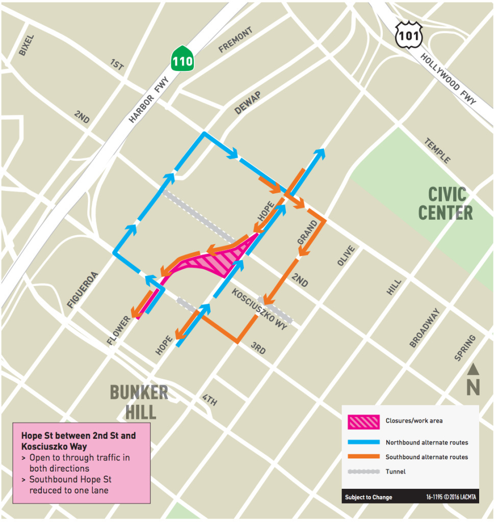 Road closures around 2nd/Hope Streets expected through 2020 as station construction continues.