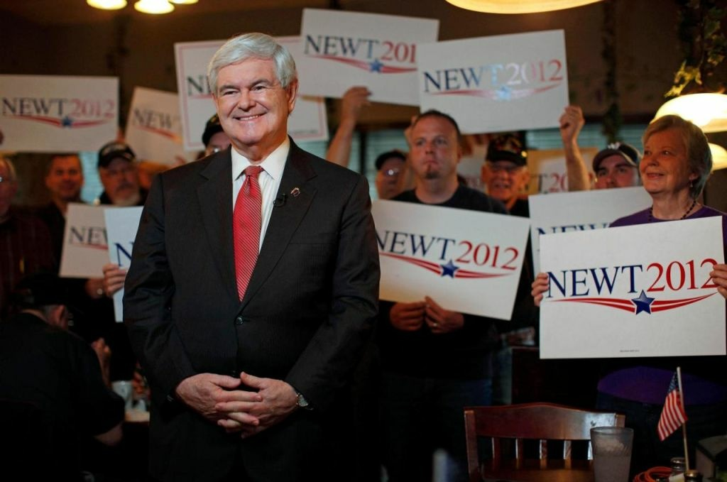 Republican presidential candidate and former House Speaker Newt Gingrich takes part in a TV interview during a campaign event at the Grapevine Restaurant in Spartanburg, S.C., on Saturday, Jan. 21, 2012, the unpredictable voting day of the South Carolina presidential primary.