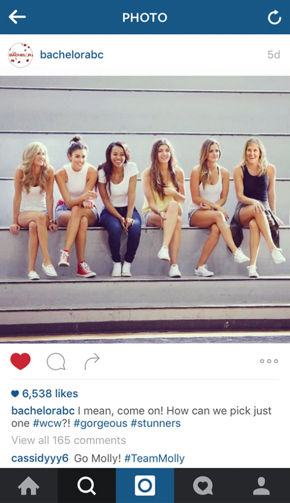 A fake social media post, with Molly Hawkey inserting herself alongside other cast members of