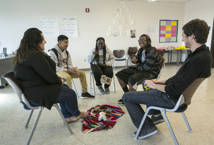 In this photo taken Monday, Dec. 15, 2014, high school student Myriah Brisco, 14, left, and her mother, Ramona Roberson, comment on their restorative justice class at the Augustus F. Hawkins High School in Los Angeles. At Los Angeles Unified School District, the suspension rate has dropped from 8 percent in 2008 to 1.5 percent last school year. The decline came amid a district and nationwide push to stop punishing children by removing them from class for minor disruptions, costing them important time in the classroom and potentially affecting lifelong academic achievement. In Los Angeles, one of the biggest alternatives to suspension in schools now is restorative justice.