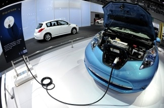 The Nissan Leaf electric is seen during the press day of the LA Auto Show on Nov. 18, 2010.