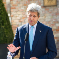 Secretary of State John Kerry delivers a statement in front of Palais Coburg where the Iranian nuclear talks are taking place in Vienna, Austria.