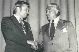 Retiring Boeing engineer Stan Barauskas and Wernher von Braun (R) in an undated photo.