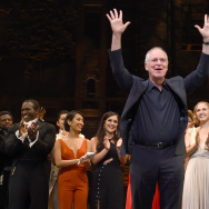 """Hamilton"" author Ron Chernow and the cast appear onstage at the opening night curtain call for ""Hamilton"" at the Pantages Theatre on August 16, 2017 in Los Angeles, California."