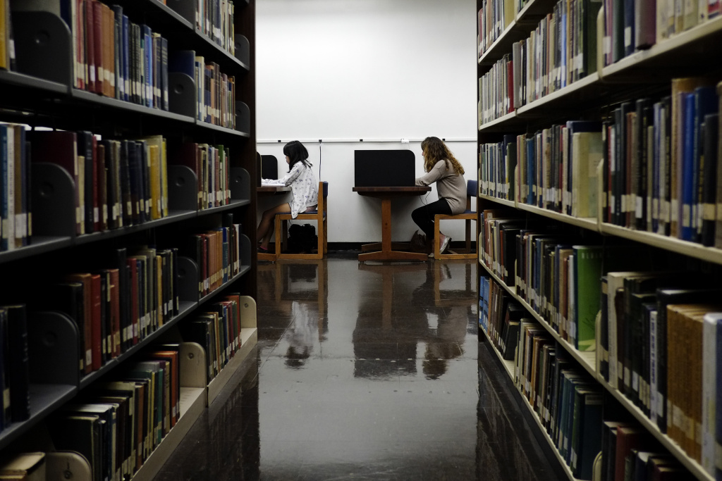 Students study at a library on the campus of California State University, Long Beach in Long Beach, Calif., in October 2012.