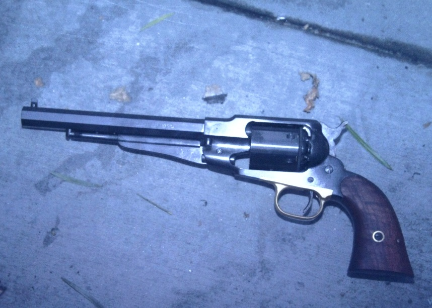 A police photo of John Zawahri's old Army Colt, found on the pavement near Marc Haefele's home in Santa Monica.
