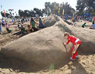 Celebrating the migration of the pacific gray whale and the beginning of the whalewatching season, volunteers  build a 75 foot life sized sand sculpture of the world's largest whale, the blue whale. This event is the start of the CMA's 75 year anniversary celebration.