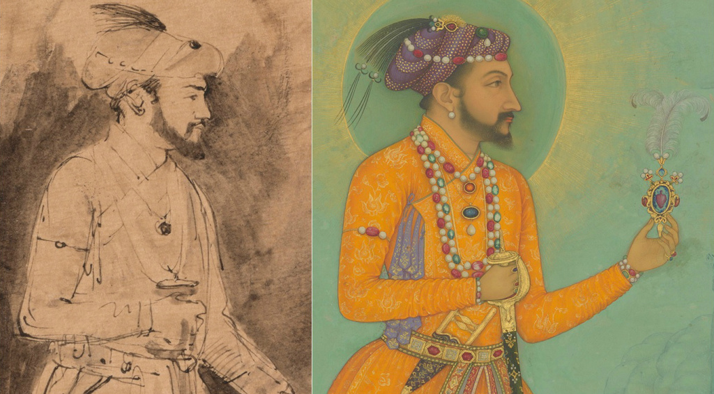 Left: Shah Jahan (detail), about 1656–61, Rembrandt Harmensz. van Rijn. Right: Jujhar Singh Bundela Kneels in Submission to Shah Jahan (folio from Minto Album; detail), 1630–40, Bichitr.