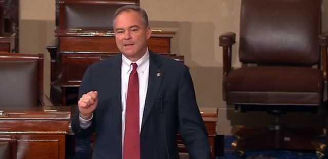 As the U.S. Senate voted to start its debate on immigration reform, Democrat Tim Kaine delivered a speech entirely in Spanish.