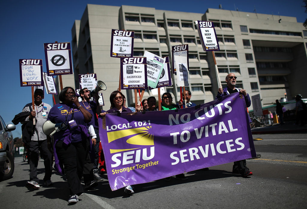 Members of the SEIU Local 1021 protest in San Francisco. The union is now mounting a nation-wide