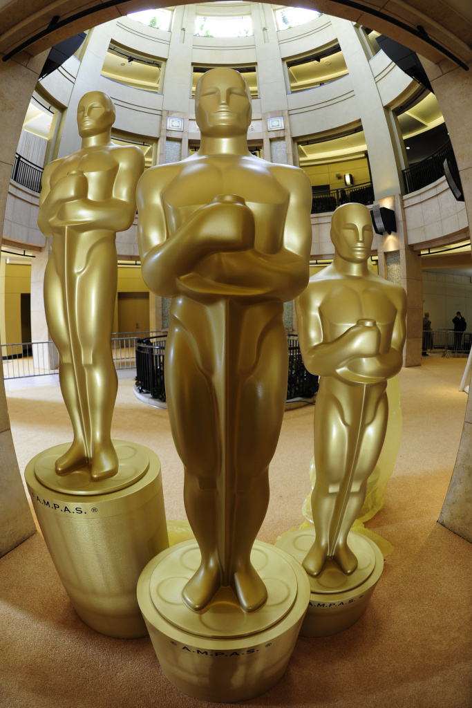 Oscar statues on display at the former Kodak Theatre
