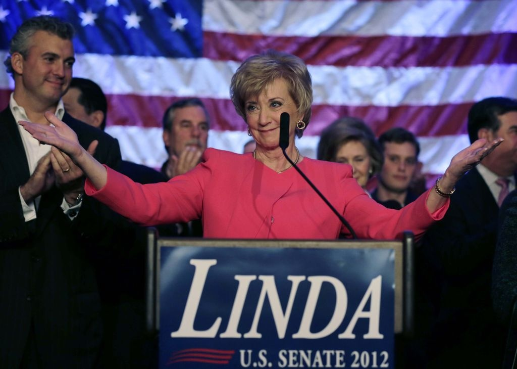 Republican candidate for U.S. Senate Linda McMahon thanks supporters in Stamford, Conn., Tuesday, Nov. 6, 2012. McMahon conceded the race to Democratic opponent Chris Murphy for the Senate seat now held by Joe Lieberman, an independent who's retiring.
