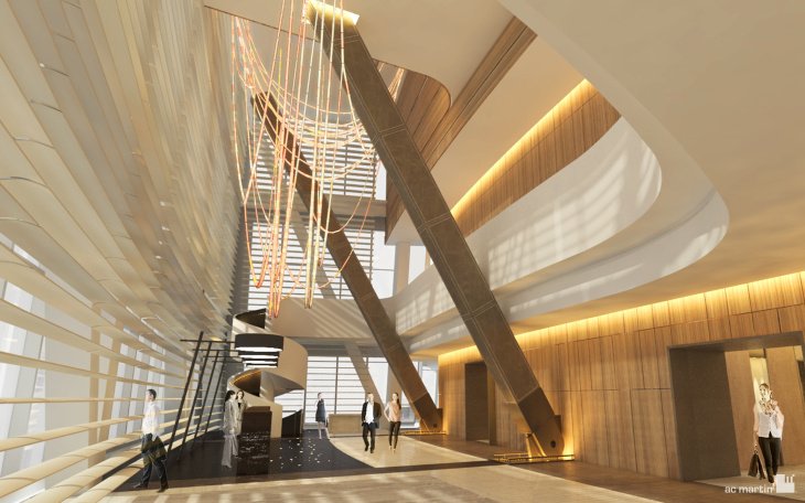 Rendering of a the lobby bar at the future Wilshire Grand hotel in downtown Los Angeles