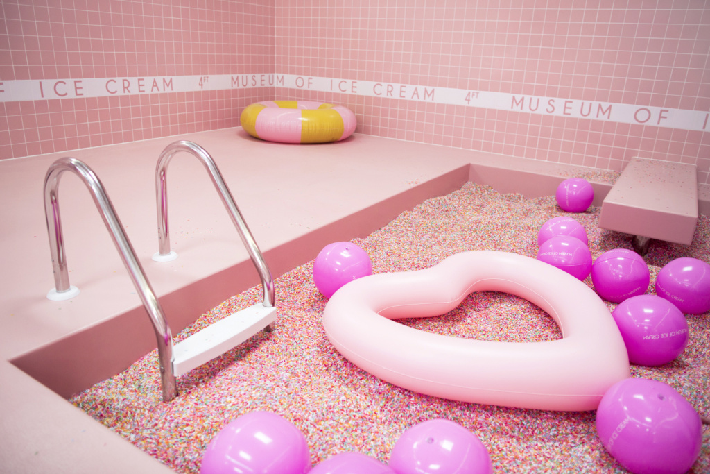 A sprinkle pool filled with self-cleaning plastic sprinkles is on display during a press preview at the Museum of Ice Cream in the Arts District on Thursday, April 20, 2017. The museum is open from April 22 through May 29.