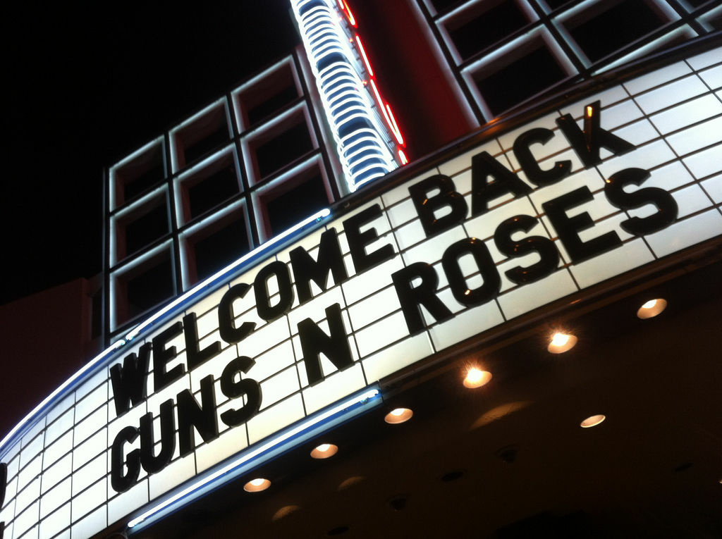 Marquee at the Hollywood Palladium before the Guns N Roses show on March 9, 2012