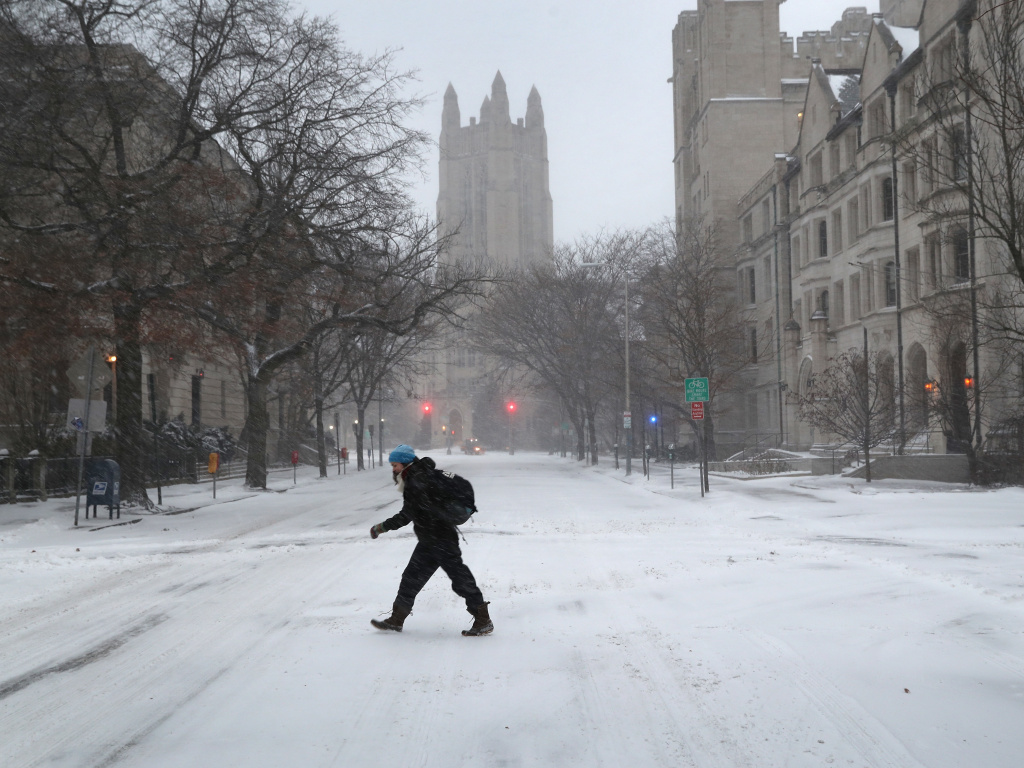 Yale University in New Haven, Conn. — pictured during a snowstorm in Jan. 2018 — is no longer facing a federal discrimination lawsuit after the Department of Justice withdrew it on Feb. 3.