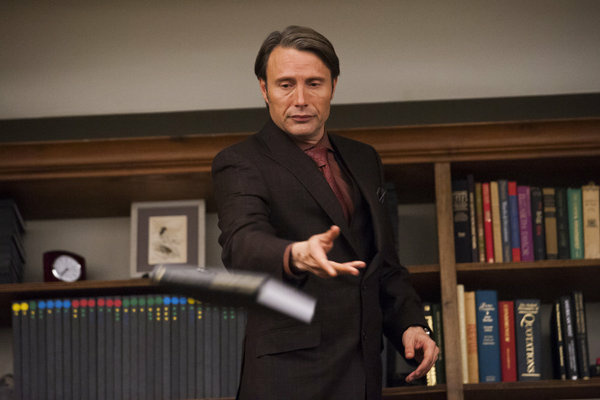 "Mads Mikkelsen as Dr. Hannibal Lecter in a still from ""Hannibal"" episode ""Coquilles."""