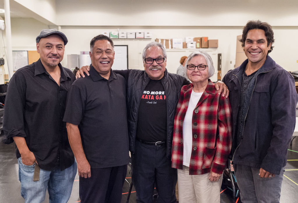 Playwright and director Luis Valdez (center) has made