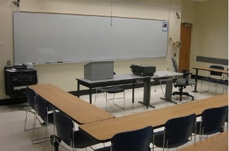 Empty classroom at San Fransisco State University.