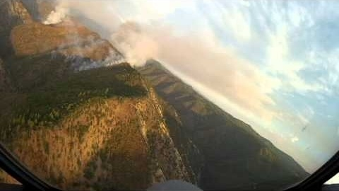 An aerial image of the Rim Fire burning near Yosemite National Park, shot by Cal Fire.