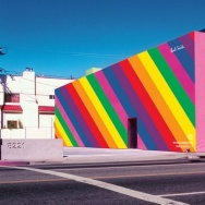The Paul Smith store in L.A. temporarily transformed one of its exterior walls into a rainbow pattern in honor of Pride Month.