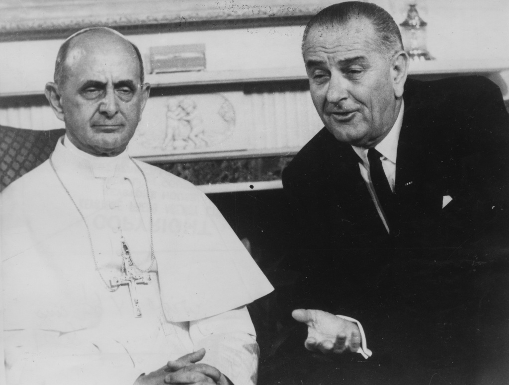 (L-R) Pope Paul VI and US President Lyndon B Johnson during a visit to New York, October 8th 1965. Newer generations now associate