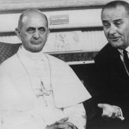 """(L-R) Pope Paul VI and US President Lyndon B Johnson during a visit to New York, October 8th 1965. Newer generations now associate """"LBJ"""" with LeBron James."""