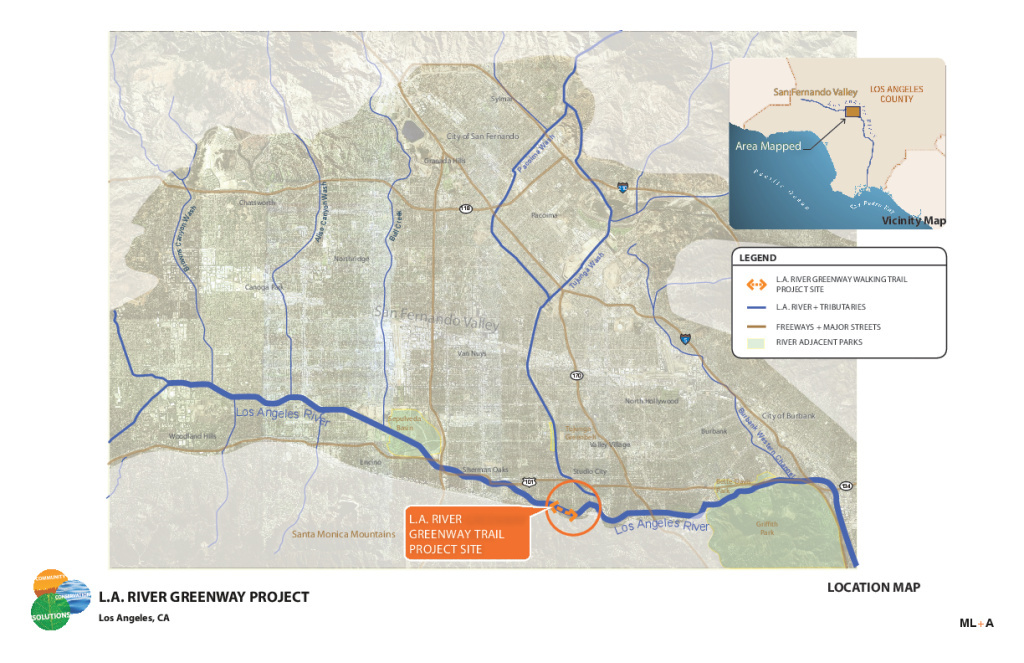 A map showing the Zev Yaroslavsky L.A. River Greenway Trail.