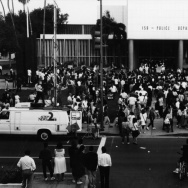 A group of people gathered outside LAPD's Parker Center during the riots on April 29, 1992, following the jury's decision in the Rodney King beating case.