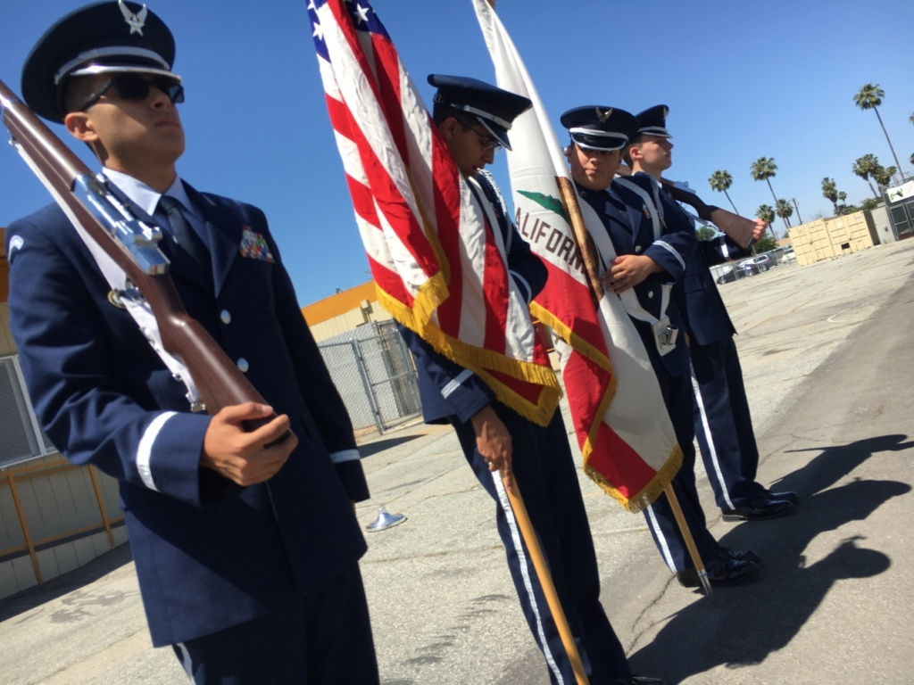 Alejandro Gutierrez, 18, far left, practices with his fellow cadets at Hemet High School as they prepare to lead a color guard ceremony at the Riverside National Cemetery for Memorial Day.