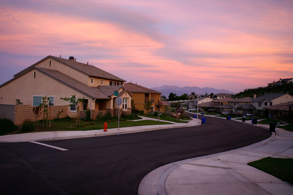 Recently built homes are seen in suburban neighborhoods under in the community of Highland, east of San Bernardino, California.