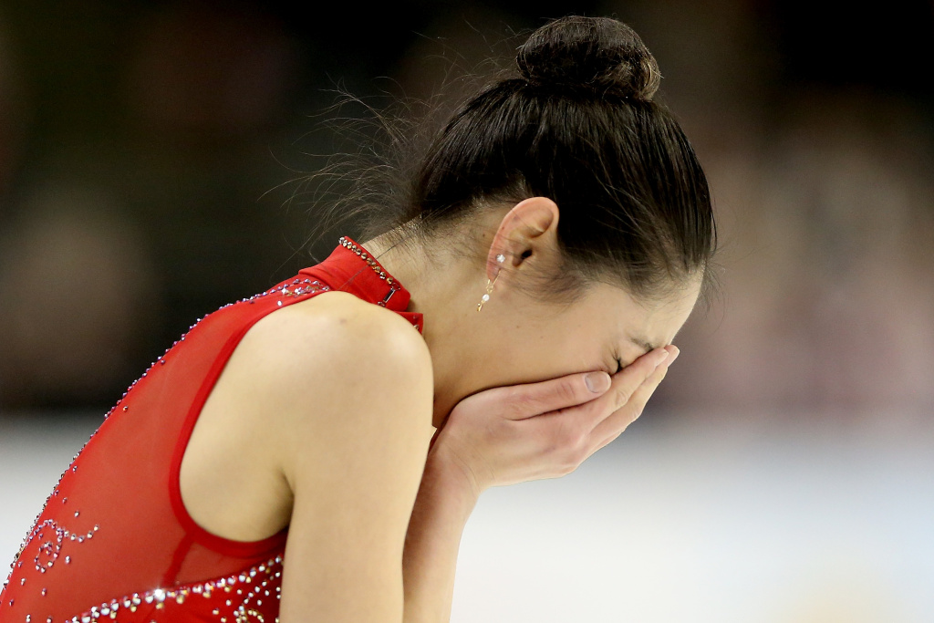 Mirai Nagasu reacts at the end of her program in the Ladies Free Skate during the 2018 Prudential U.S. Figure Skating Championships at the SAP Center on January 5, 2018 in San Jose, California.