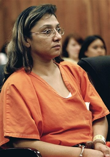 This July 17, 2007, file photo shows EvaDaley during opening statements in her trial in Long Beach, Calif.
