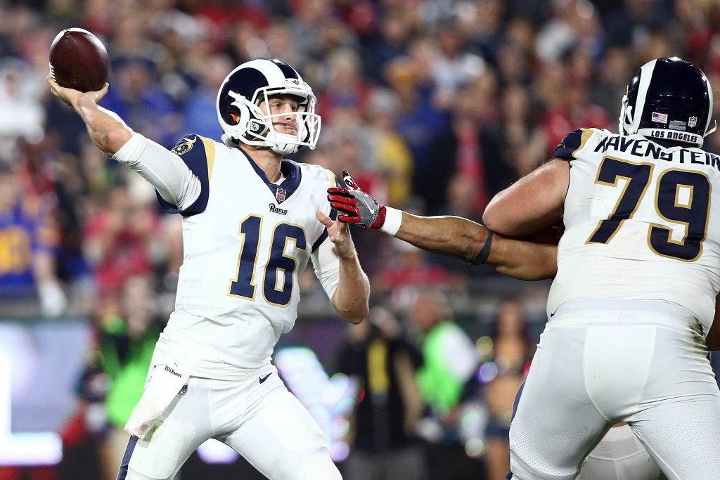 Jared Goff #16 of the Los Angeles Rams throws a pass during the NFC Wild Card Playoff Game against the Atlanta Falcons at the Los Angeles Coliseum on January 6, 2018 in Los Angeles, California.
