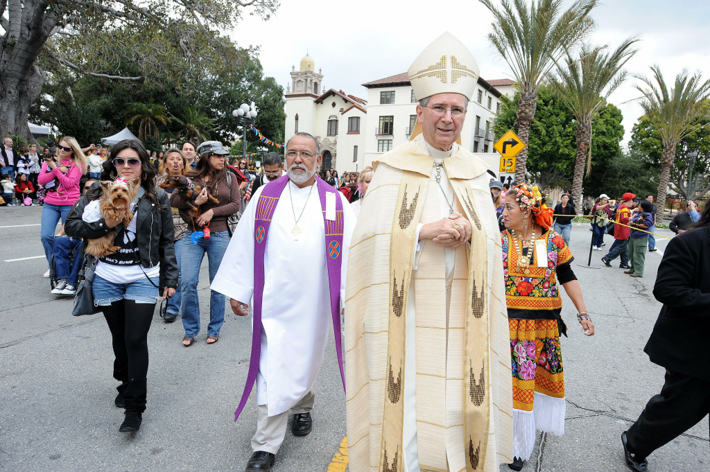 Cardinal Roger Mahony arrives for the annual Blessing of the Animals at El Pueblo Historic Park at Olvera Street on Easter in 2009.