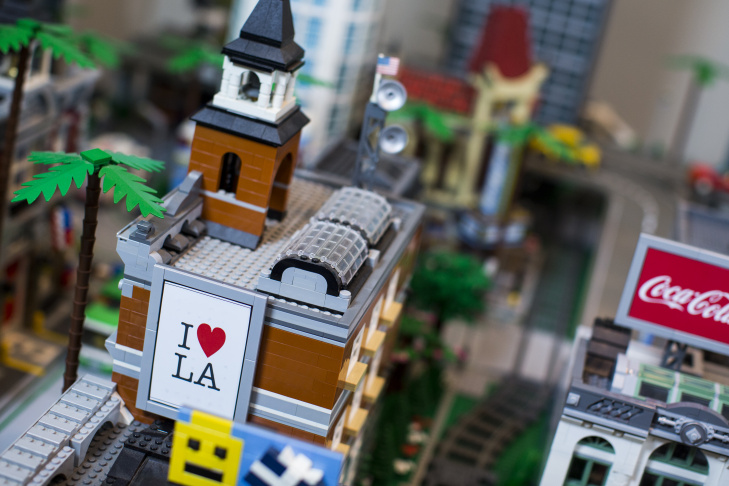 Jorge Parra Jr. has spent the last 8 years building this Lego version of Los Angeles. The structures sit in his El Monte home on Wednesday afternoon, Oct. 12, 2016. Parra customized Lego pieces by printing small billboards and street signs unique to Los Angeles.
