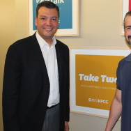 California Secretary of State Alex Padilla (left) with Take Two host A Martinez.