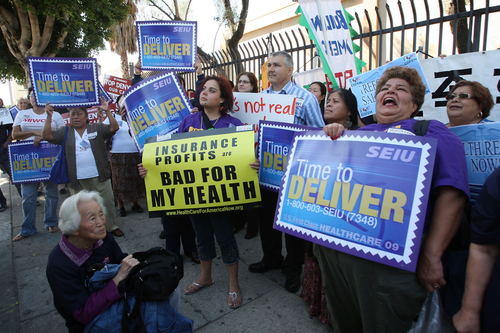 Health care workers begin a drive to make 100,000 calls to Congress urging law makers to pass a reform bill to make health care coverage more affordable for the American public on October 20, 2009 in Los Angeles, California.