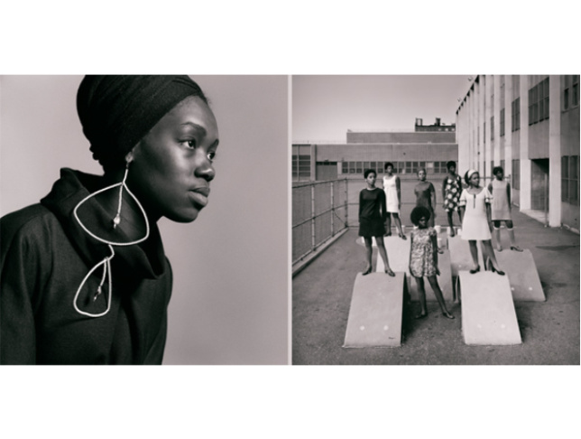 Image credits, from left: Kwame Brathwaite. Nomsa Brath wearing earrings designed by Carolee Prince, AJASS, Harlem, ca. 1964. Courtesy of the artist and Philip Martin Gallery, Los Angeles; Kwame Brathwaite. Photo shoot at a public school for one of the AJASS-associated modeling groups that emulated the Grandassa Models and began to embrace natural hairstyles. Harlem, ca. 1966. Courtesy of the artist and Philip Martin Gallery, Los Angeles.