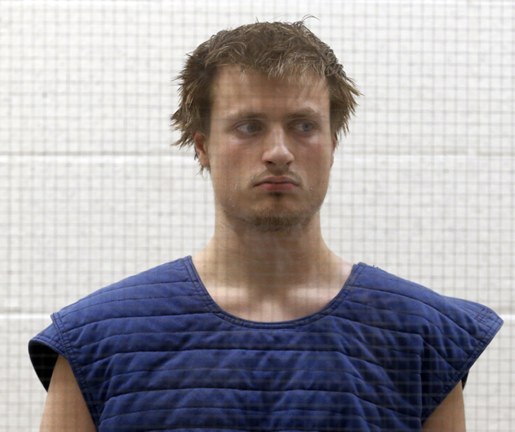 James Wesley Howell, 20, of Indiana, appears in Superior Court in Los Angeles Tuesday, June 14, 2016. Howell faces felony weapons charges after authorities say they found  assault rifles and explosive chemicals in his car in Santa Monica on June 12, before West Hollywood's LA Pride Parade and Festival.