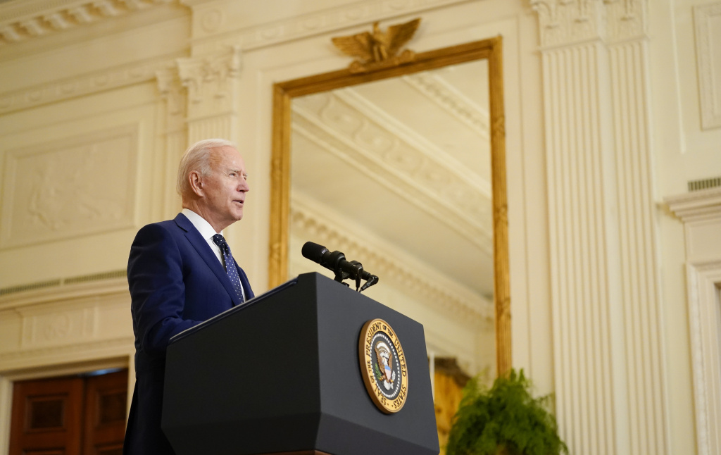 Nearly 100 days into office, President Biden is lagging his predecessors in the number of bills he has signed, but he is far outpacing them on executive orders. Here, Biden speaks about Russia in the East Room of the White House on April 15.